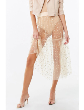 Sheer Metallic Midi Skirt by Forever 21