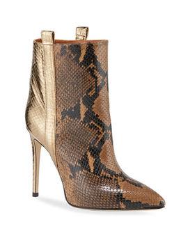 Metallic Snake Embossed Stiletto Booties by Paris Texas