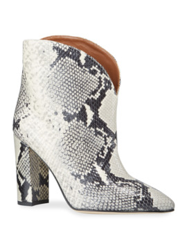 90mm Python Print Leather Booties by Paris Texas