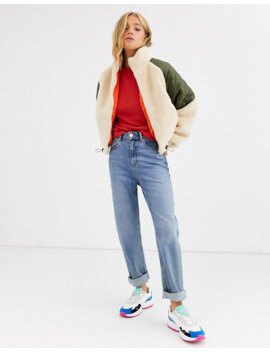 Pull&Amp;Bear Borg And Quilt Zip Front Jacket In Ecru by Pull&Bear