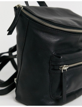 Asos Design Leather Zip Detail Backpack by Asos Design
