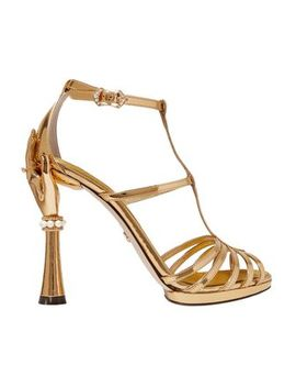 Keira Embellished Mirrored Leather Sandals by Dolce & Gabbana
