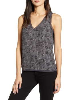 Snake Print Raw Edge V Neck Tank Top by Chelsea28