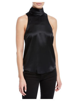 Jazlyn Silk Sleeveless Turtleneck Top by Cinq A Sept