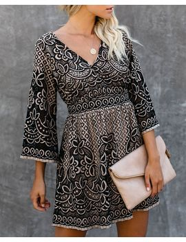 Can't Help Falling In Love Lace Dress   Black   Final Sale by Vici