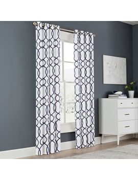 Newport Wave 63 Inch Light Filtering Grommet Top Window Curtain Panel In Slate by Bed Bath And Beyond