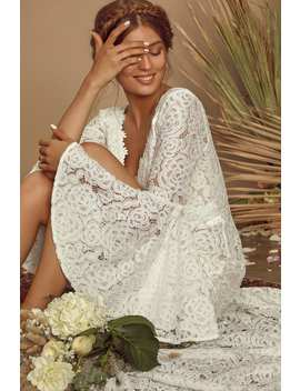 Duchess Ivory Lace Bell Sleeve Maxi Dress by Lulus