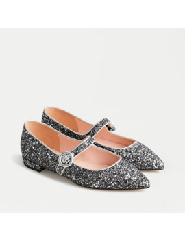 Pointy Toe Mary Jane Flats In Gunmetal Glitter by J.Crew