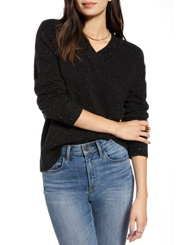 Cozy Nep Flecked V Neck Sweater by Treasure & Bond