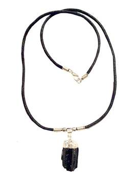 Genuine Rough Cut Black Tourmaline Stone Necklace   Silver Dipped Top   Made To Order by Etsy