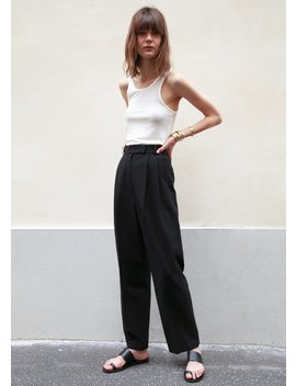 Bea Pleated Suit Pants In Black by The Frankie Shop