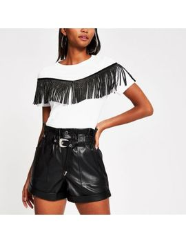 Black Belted Faux Leather Mom Shorts by River Island