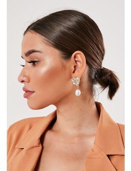 Gold Heart Diamante Pearl Stud Earrings by Missguided