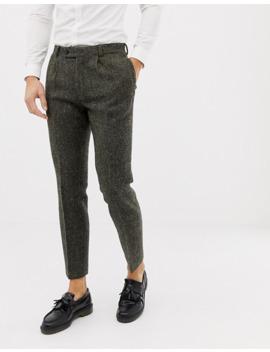 Asos Design Slim Suit Pants In 100% Wool Harris Tweed Khaki Micro Check by Asos Design