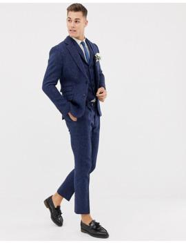 Asos Design Wedding Slim Suit Pants In 100% Wool Harris Tweed In Navy Twill by Asos Design
