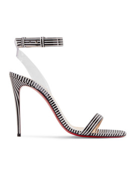 Jonatina 100 Pvc Trimmed Striped Patent Leather Sandals by Christian Louboutin