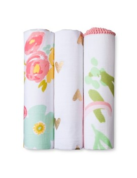 Muslin Swaddle Blankets Floral 3pk   Cloud Island™ Pink by Shop This Collection