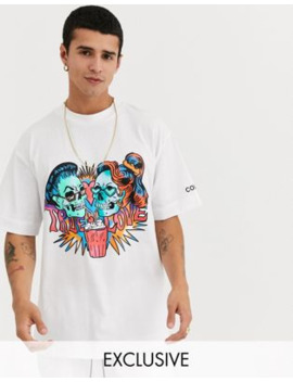 Collusion Oversized T Shirt With Tattoo Print In White by Collusion