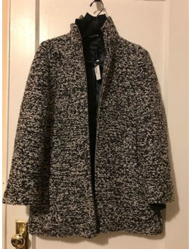 J. Crew Lodge Coat In Speckled Boucle Women's Size 2 Ivory Black by J.Crew