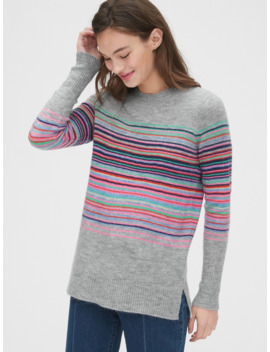 Crazy Stripe Crewneck Tunic Sweater by Gap