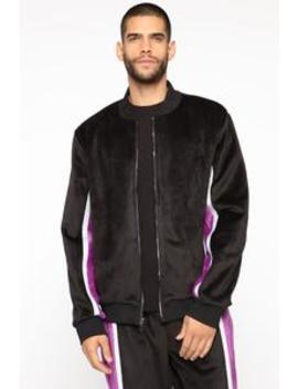 Ethan Velour Jacket   Black/Combo by Fashion Nova