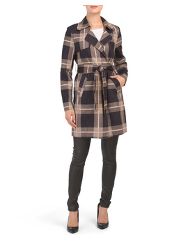 Plaid Faux Suede Trench Coat by Tj Maxx