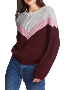 Chevron Front Crewneck Cotton Sweater by 1.State