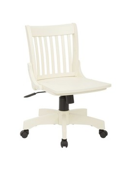 Armless Wood Banker's Chair Antique White   Osp Home Furnishings by Osp Home Furnishings