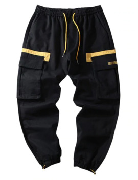 Letter Pattern Color Spliced Casual Jogger Pants   Black L by Zaful
