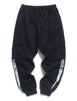 Masked Ball Paint Letter Printed Jogger Pants   Black M by Zaful