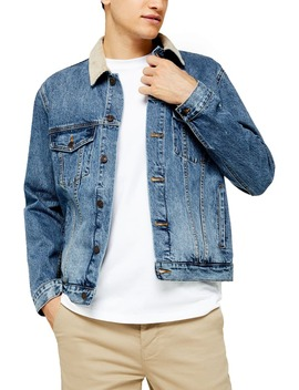 Corduroy Collar Classic Fit Denim Jacket by Topman