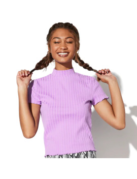 Juniors' Vylette™ Ribbed Mock Neck Top by Vylette