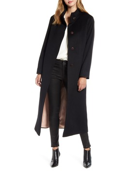 Long Stand Collar Cashmere Coat by Fleurette