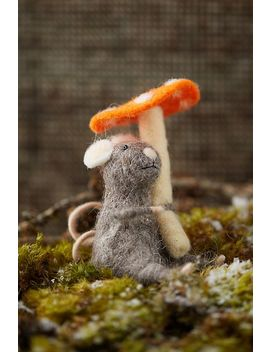 Felt Mouse And Mushroom Ornament by Anthropologie