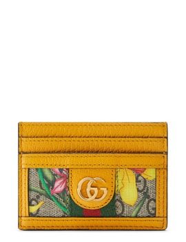 Ophidia Floral Gg Supreme Canvas Card Case by Gucci