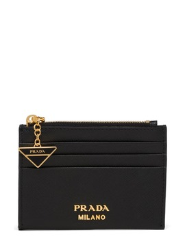 Logo Charm Saffiano Leather Card Case by Prada