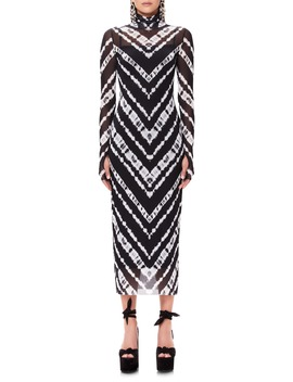 Shailene Long Sleeve Print Mesh Dress by Afrm