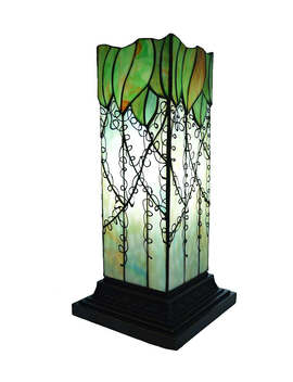 Green Vine Stained Glass Hurricane Lamp by River Of Goods