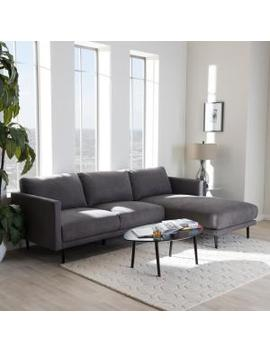 Riley 2 Piece Mid Century Gray Fabric Upholstered Right Facing Chase Sectional Sofa by Baxton Studio