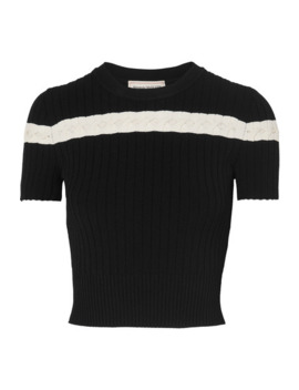 Pointelle Trimmed Cable Knit Top by Alexander Mc Queen