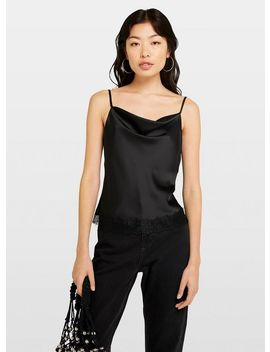 Black Lace Trim Cowl Camisole Top by Miss Selfridge