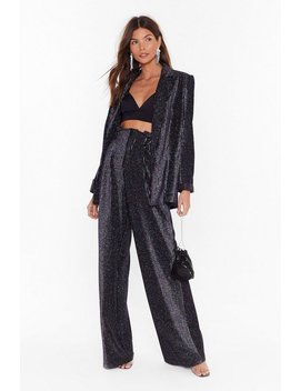 Wherever Disco's Glitter Wide Leg Pants by Nasty Gal