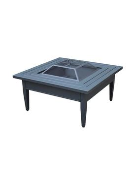 Riley 38 In. Square Steel Wood Burning Fire Pit Table by Hampton Bay