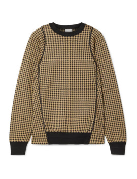 Piped Houndstooth Silk Jacquard Sweater by Noir Kei Ninomiya