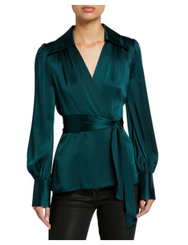 shay-long-sleeve-silk-satin-wrap-blouse by elie-tahari