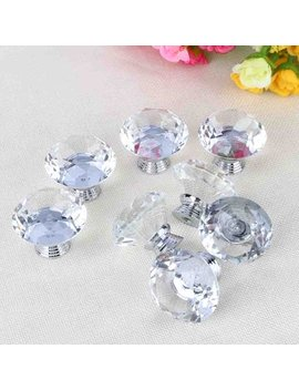 8pcs Clear Diamond Crystal Glass Door Knobs Drawer Cabinet Furniture Kitchen by Hurrise
