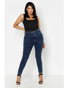 Plus Acid Wash Ripped Jegging by Boohoo
