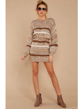 Side By Side Brown Multi Stripe Sweater Dress by Saints & Hearts