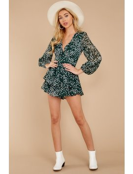 Called To Mind Dark Green Print Romper by One And Only Collective