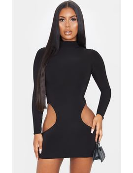 Black High Neck Extreme Cut Out Long Sleeve Bodycon Dress by Prettylittlething
